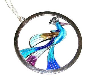 Silver and Enamel Peacock Pendant Italian Sterling Necklace