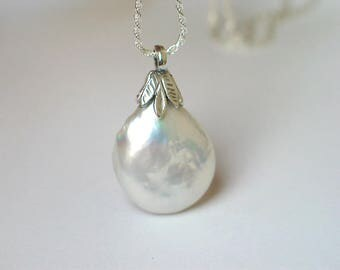 Baroque Coin Drop Pearl Pendant | Large White Freshwater Pearl | Leaf Motif Sterling Silver Pendant | June Birthstone Gift | Ready to Ship