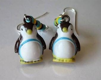 Penguin Earrings, Bell Dangle Earrings, Christmas Earrings, Christmas Bell,  Animal Earrings, Bird Jewelry, Baby Penguins, Holiday Jewelry
