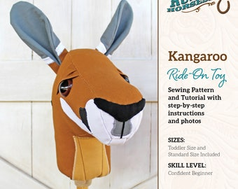 Kangaroo Ride-on Toy Stick Horse Sewing Pattern and Tutorial Includes Two Sizes