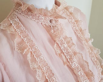 blush pink to peach blouse, victorian look, STUNNING lace, tie waist, peach lace top, sheer lace blouse