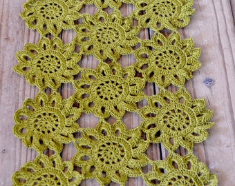 Handmade Crocheted Flower Table Runner Doily 26 inches by 12 inches