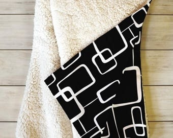 Black Geometric Fleece Sherpa Throw Blanket // Home Decor // Midcentury Modern // Dorm Decor // On The Quad Black Design // Cozy Blanket