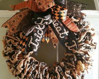 Halloween Wreath, Burlap Wreath, Holiday Wreath, Halloween Decor