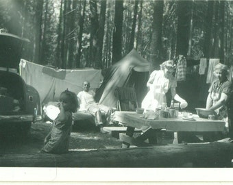 1940s Family Camping Trip Picnic Lunch Grandma in Apron Baby Sumer Car Tents Vintage Photograph Black White Photo
