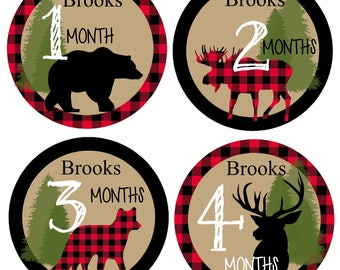 FREE Gift  Personalized LUMBERJACK Baby Month Stickers, Monthly Baby Stickers, Woodland Nursery,  Deer, Bear, Fox  Forest Animals, Tribal