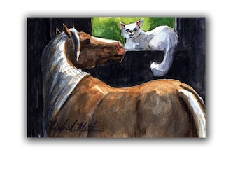 White Cat Kitten Palominio Horse Pony New Mom Nursery Baby Artwork  LLMartin Original Watercolor Painting Free Shipping USA