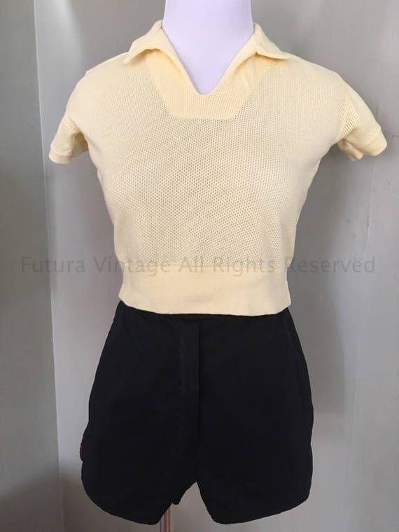 1950s Yellow Pullover JD High Waist Knit Jumper Top-XS S