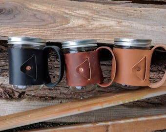 In Irons - Leather Wrapped Mason Jar Mug