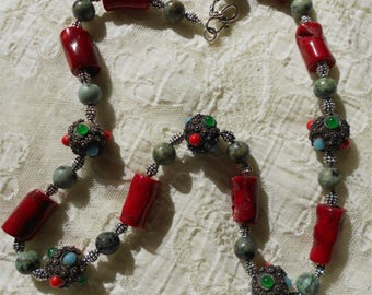 Bamboo Coral and African Turquoise Necklace with Antique Mediterranean beads