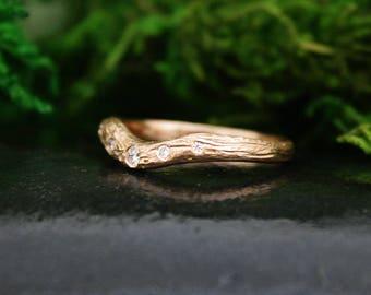 Cradle Branch Ring, Wedding Ring, Twig Diamond Ring, 3mm Wide, Rose Gold Branch Ring