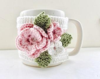 Floral Cup Cosy, Cup Sleeve, Mug Cosy, Cup Cozy, Mug Sleeve, Mug Warmer - Pure Wool - Allure