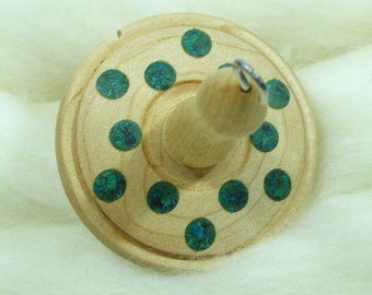 Lluna Hand-Turned Maple / Turquoise / Chrysocolla Drop Spindle-Top Whorl 23 Grams