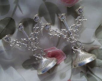 MINT Gorgeous Pair Of Petite Metal Silvertone Candelabras - Home Decor - Wedding - Vintage - Shabby Chic