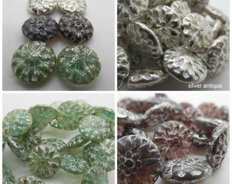 Choose Color 14mm Dahlia Czech Glass Beads, 14mm Czech Dahlia, Czech Glass, Flower bead, Czech Glass Dahlia, Silver Dahlia, Mercury Finish