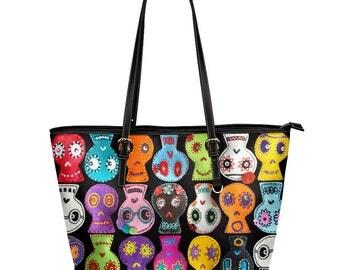 Sugar Skull Tote Bag - Day of the Dead market bag - vegan leather large zippered handbag