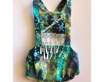 Watercolor romper - fringe boho panel with snaps