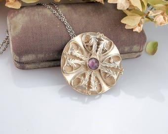 Old World Antique Pendant | Edwardian Silver Pendant | Purple Silver Medallion | Late Victorian Pendant
