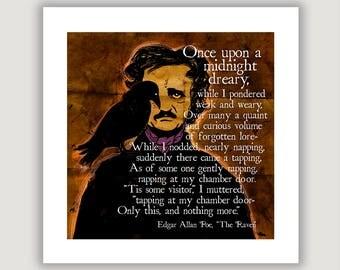 Halloween Wall Art, Edgar Allan Poe, The Raven, macabe art, goth art, poetry wall art, library art, literature print, mantel art, goth decor