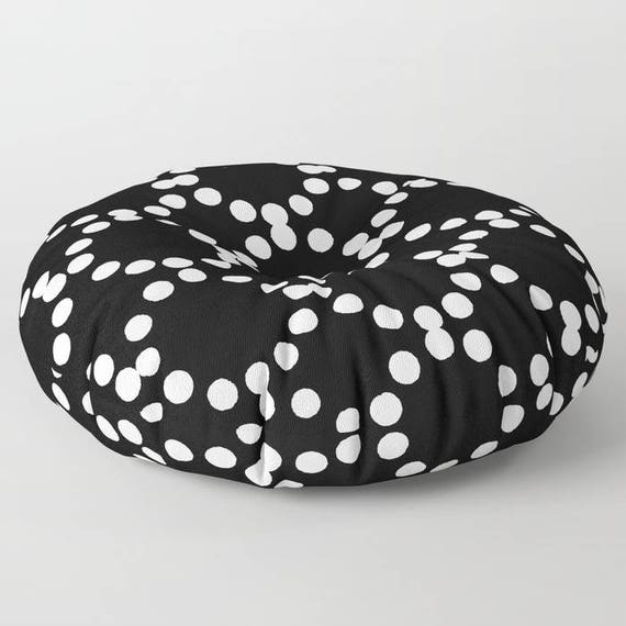 Black and white floor cushion - Round cushion - Pillow - Round pillow - Floor pillow - Geometric pillow - 26 inch pillow - 30 inch pillow