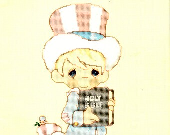 Precious Moments PM-15 Uncle Sam Little Blessings Together Winner Training Impressions Counted Cross Stitch Embroidery Craft Pattern Leaflet
