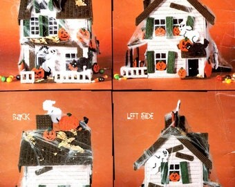 Haunted House Halloween Centerpiece Picket Fence Ghosts Jack O Lanterns Plastic Canvas Needlepoint Embroidery Craft Pattern Leaflet 3064
