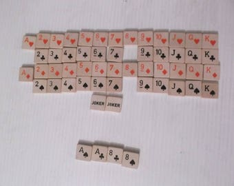 Playing Cards Plus Jokers 54 Wooden Tiles for Crafting Full Deck 0.75 x 0.75 x 0.125