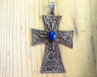Vintage Sterling Silver & Lapis Cross Pendant