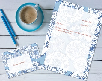 Floral Doodle Mandalas 'print your own' letter writing paper set