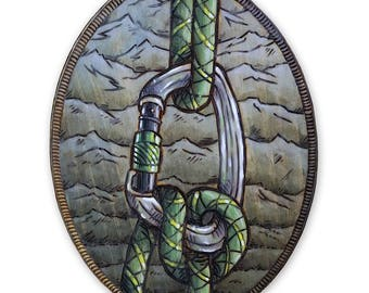 Rock Climbing Carabiner Wood Burning Art, Arylic Painting - Original