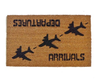 arrivals departures aviation hello goodbye funny airplane doormat