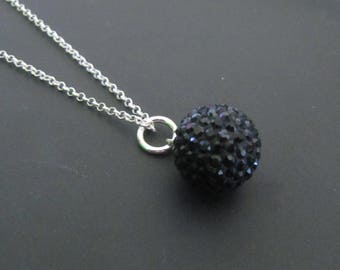 Black Crystal Necklace, Black and Sterling Silver Necklace, Crystal Necklace, Sterling Silver Jewelry, Gift