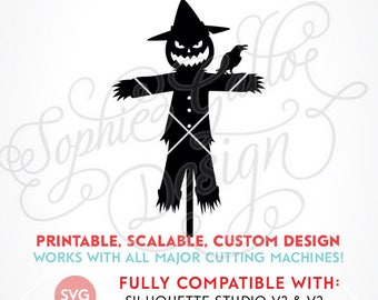 Halloween Scarecrow SVG DXF PNG digital download files for Silhouette Cricut vector clip art graphics Vinyl Cutting Machine Screen Printing