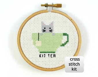 kit tea cross stitch kit, funny cross stitch kit, diy kit, diy cross stitch, tea cross stitch kit, cat cross stitch kit, mini cross stitch