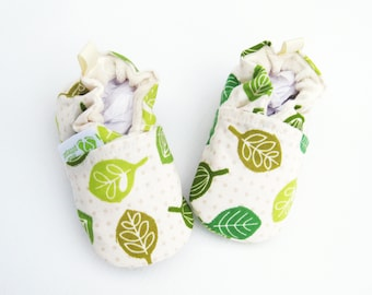 Organic Vegan Spring Leaves / All Fabric Soft Sole Baby Shoes / Made to Order / Babies