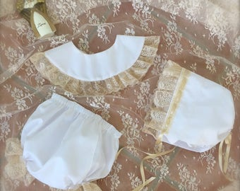 Baby Vintage Inspired Blue White Pink  Bonnet Diaper Cover and Collar  Juvie Moon Designs, Lace and Satin Ribbon