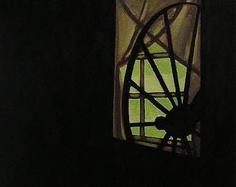 Interior With An Old Spinning Wheel, Realistic Oil Painting, Moody and Evocative