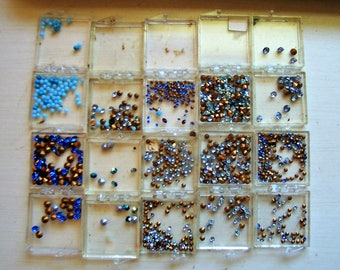 100's of Tiny Blue Rhinestones, Rhinestone Jewelry, Found Stash, Cone Back, Not Flat Back, Light & Dark Blues Glittery