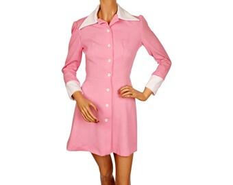 1960s Bubble Gum Pink Mini Dress - S