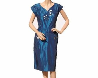 Vintage 1950s Blue Silk Taffeta Dress - Applique Work