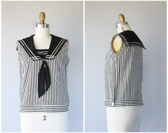 Vintage 1950s Sailor Blouse | 50s Blouse | 1950s Nautical Blouse | 60s Blouse | 1960s Striped Blouse - (small)