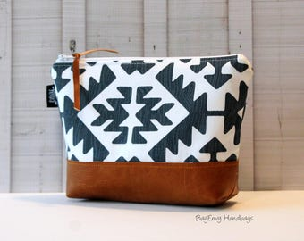 Aztec in Gunmetal - Small Make Up Bag  / Bridesmaid Gift - with Vegan Leather