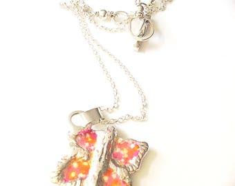 Sterling Silver Butterfly Pendant Necklace Pink Enamel
