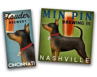 FREE Text Customization Miniature Pinscher Min Pin Brewing Co. Canvas Wall Art Ready-to-Hang Custom Personalized Ryan Fowler