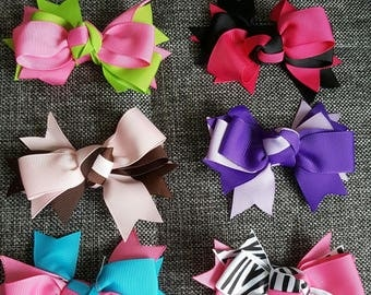 "Lot 6 Grosgrain Ribbon Double Bow 4"" for Hair Clip Girl Free Ship"