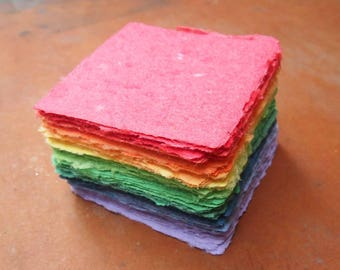Handmade Recycled Paper - Squares Rainbow