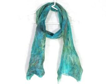 Cobweb Felted Scarf, Handmade Wool Silk Winter Scarf, Green Teal Aqua, Long Womens Scarf, Winter Fashion Accessory, OOAK Gift for Her