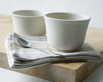 Set of two small stoneware bowls - hand thrown and glazed in vanilla cream