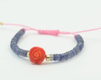 Coral flower ,iolite and vermeil bracelet