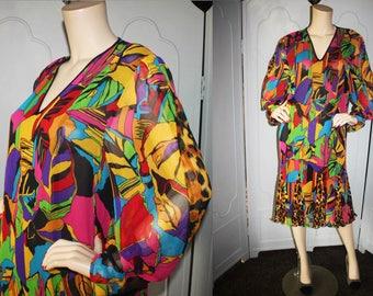 Vintage Diane Freis Designer Cocktail Dress in Rare Unique Design.